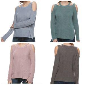 Cutout Neckline Cold Shoulder Sweater